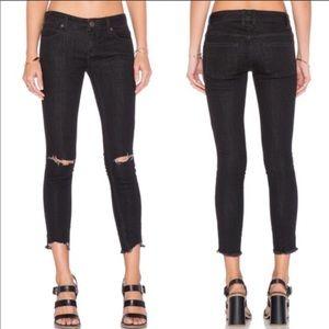 Free People Destroyed Step Hem Cropped Skinny Jean